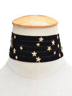 Gargantilla Multicapas Terciopelo Diseño Estrella - Negro