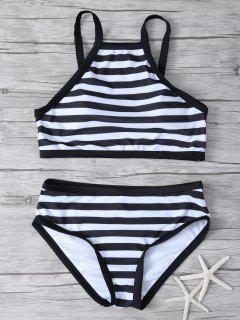 High Neck Stripe Bikini Set - White And Black L