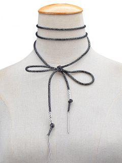 Artificial Leather Rope Bows Choker - Black