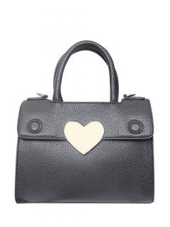 Metal Heart PU Leather Handbag - Gray