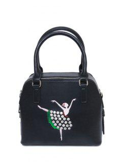 Sequined Rhinestones Zipper Tote Bag - Black
