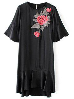 Ruffle Floral Embroidered A-Line Dress - Black M