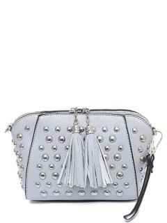 PU Leather Tassel Studded Clutch Bag - Light Gray