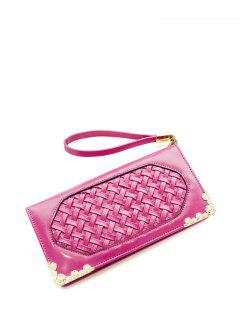 Woven PU Leather Clutch Wallet - Rose Madder