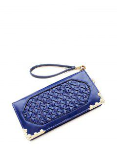 Woven PU Leather Clutch Wallet - Blue