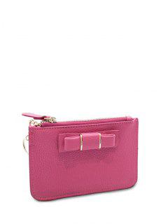 Bowknot PU Leather Coin Purse - Rose Madder
