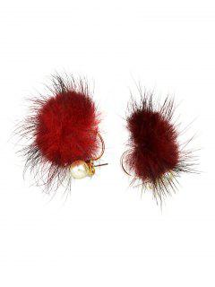 Fuzzy Ball Earrings - Red