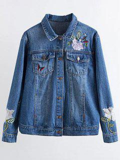 Flower Embroidered Pockets Denim Jacket - Denim Blue S