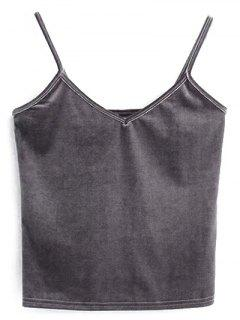 Velvet Cropped Cami Top - Gray