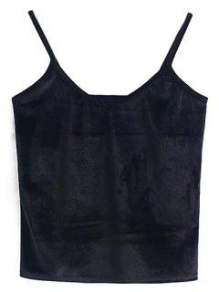 Velvet Cropped Cami Top - Black