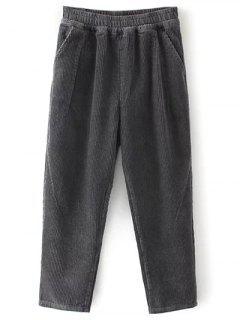 Pantalon En Velours Côtelé élastique Poches  - Gris Foncé S