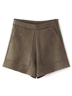 Suede Pockets Shorts - Coffee S