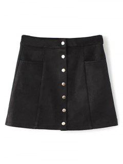 Single Breasted Suede Mini Skirt - Black S