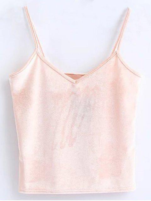 buy Velvet Cropped Cami Top - PINK ONE SIZE Mobile