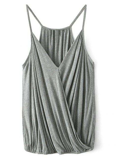 shop V Neck Wrap Cami Top - GRAY M Mobile
