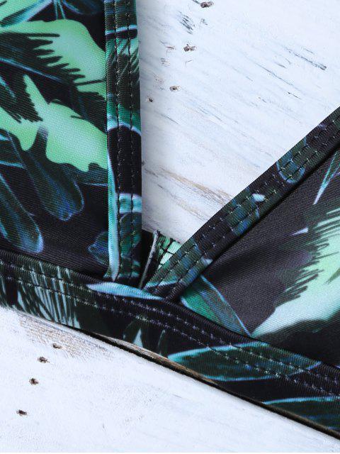womens Printed Padded Spaghetti Strap Bikini - GREEN S Mobile