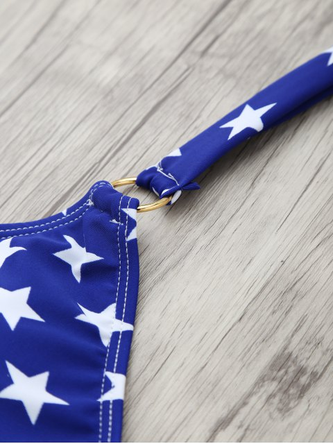 shops Halter American Flag Patriotic Wrap Bikini Set - BLUE L Mobile