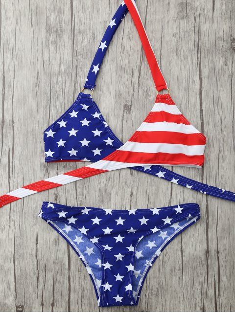 trendy Halter American Flag Patriotic Wrap Bikini Set - BLUE S Mobile