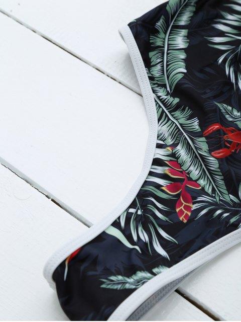 Maillot de bain à dos ouvert imprimé feuilles - Noir M Mobile