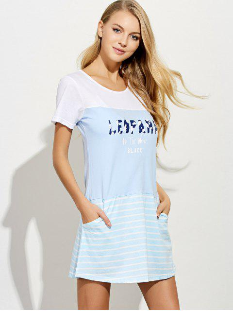 latest Short Sleeved Lounge Tee Dress - LIGHT BLUE 2XL Mobile