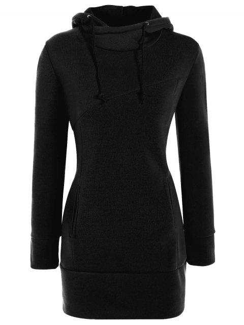 sale High Neck Drawstring Hoodie - BLACK L Mobile