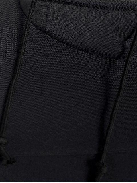 sale High Neck Drawstring Hoodie - BLACK L Mobile