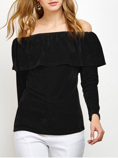 chic Velvet Off Shoulder Ruffles T-Shirt - BLACK M Mobile