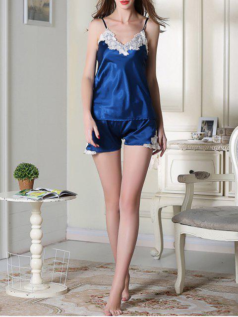 unique Satin Cami Top and Shorts Sleep Suit - ROYAL BLUE L Mobile