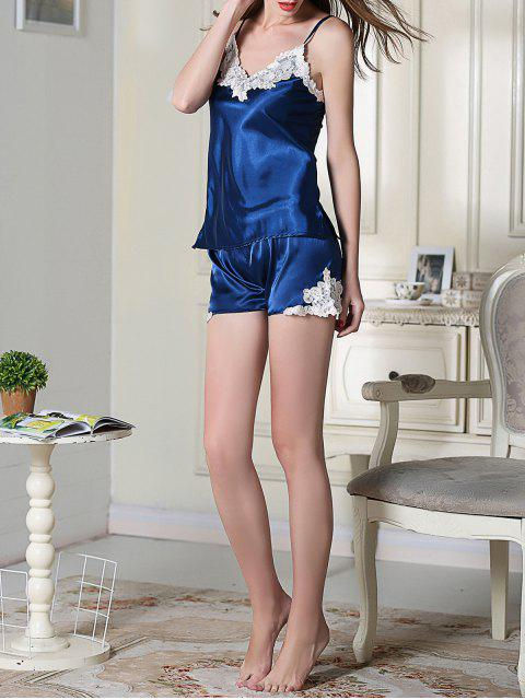 fancy Satin Cami Top and Shorts Sleep Suit - ROYAL BLUE XL Mobile