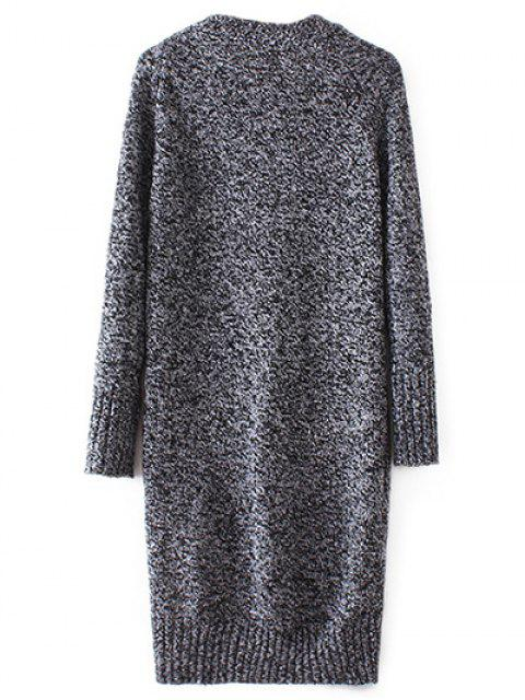 womens Longline V Neck Button Up Cardigan - DEEP GRAY M Mobile