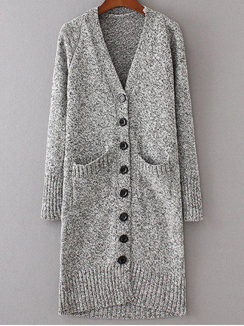 women Longline V Neck Button Up Cardigan - LIGHT GRAY M Mobile