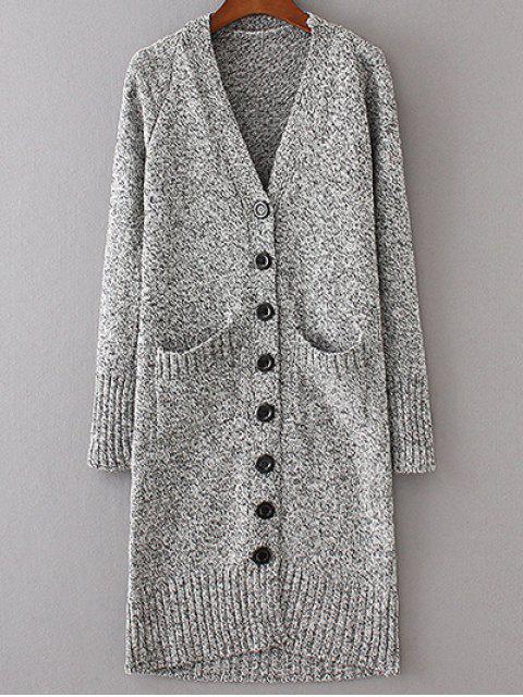 women Longline V Neck Button Up Cardigan - LIGHT GRAY M Mobile
