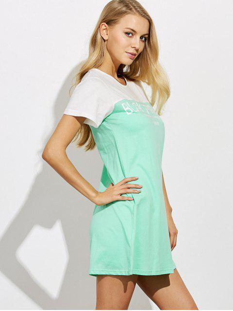 women's Lettering Short Sleeve Lounge Tee Dress - GREEN M Mobile