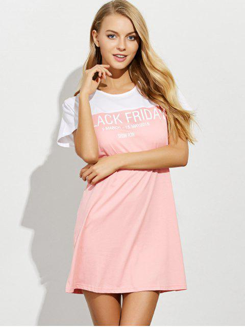new Lettering Short Sleeve Lounge Tee Dress - PINK M Mobile