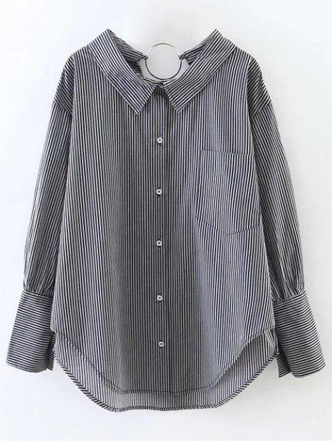 shop Striped Oversized High-Low Shirt - BLACK L Mobile