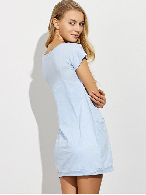 shops Afterhours Lounge Tee Dress With Pockets - LIGHT BLUE S Mobile