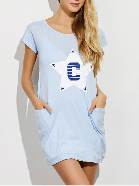 outfit Afterhours Lounge Tee Dress With Pockets - LIGHT BLUE XL Mobile