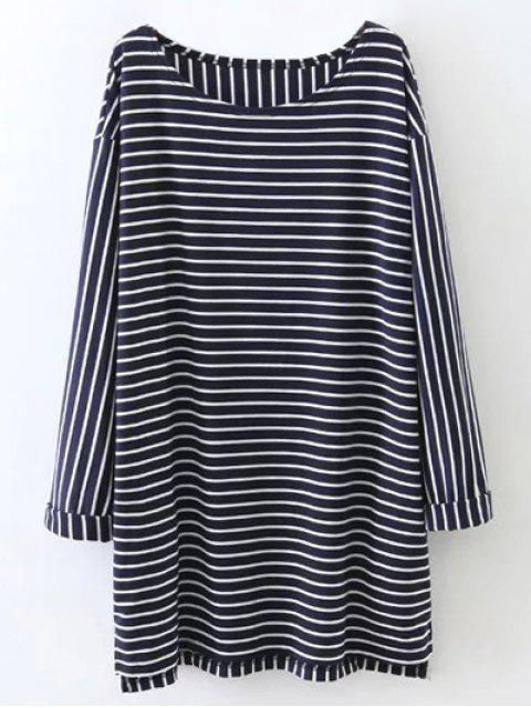 outfits Oversized Striped T-Shirt - PURPLISH BLUE S Mobile