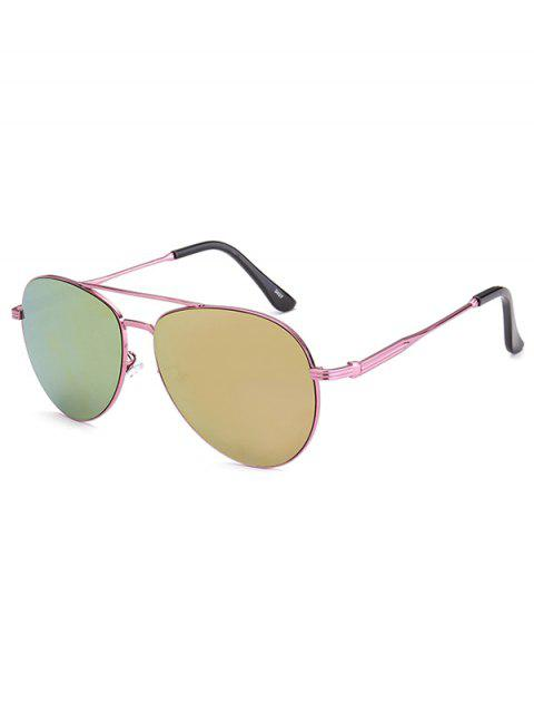 womens Metal Crossbar Pilot Mirrored Sunglasses - PINK  Mobile