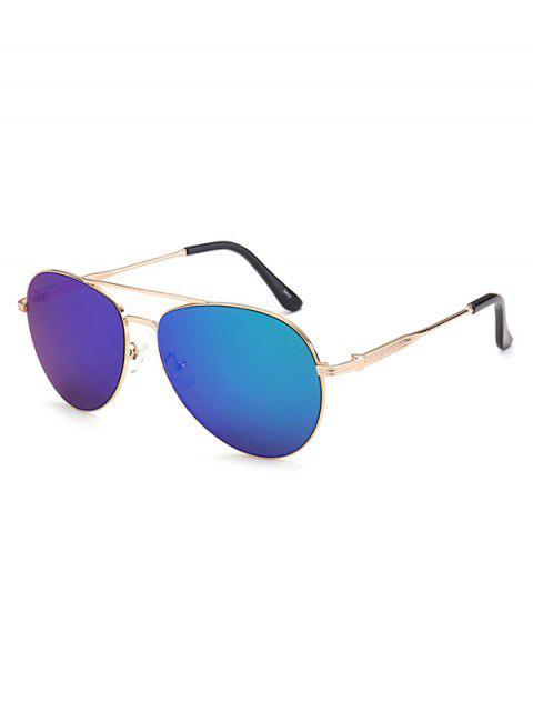 women Metal Crossbar Pilot Mirrored Sunglasses - BLUE  Mobile