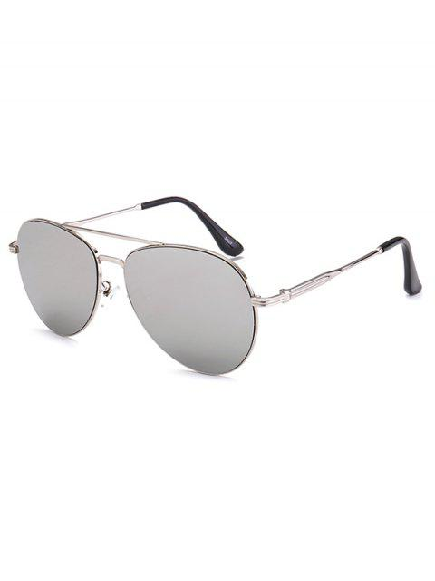 ladies Metal Crossbar Pilot Mirrored Sunglasses - SILVER  Mobile