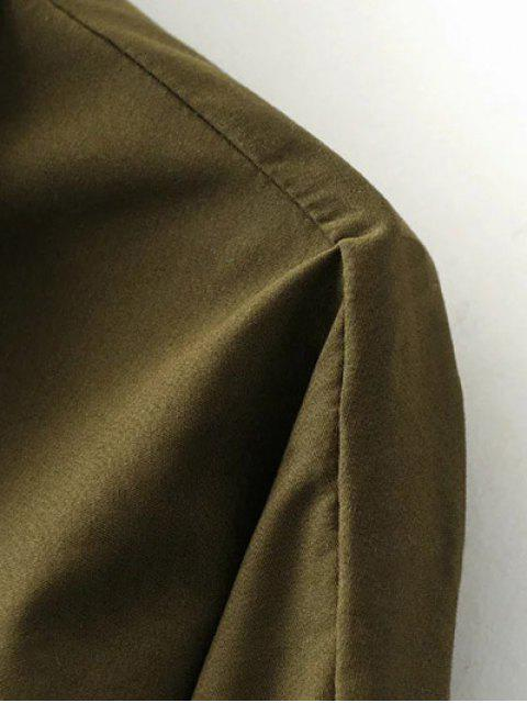 sale Half Zip Patched Blouse - ARMY GREEN S Mobile
