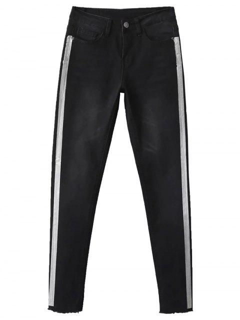 best Frayed Tapered Slim Jeans - BLACK 36 Mobile