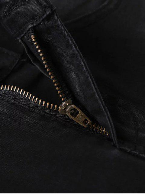 best Frayed Tapered Slim Jeans - BLACK 36 Mobile