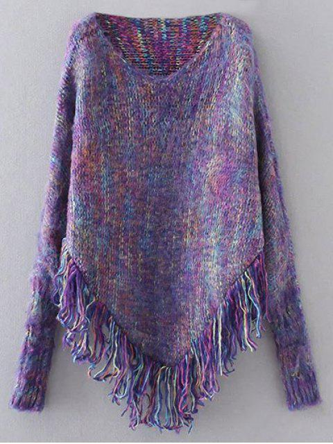 lady Oversized Fringed Sweater - PURPLE ONE SIZE Mobile