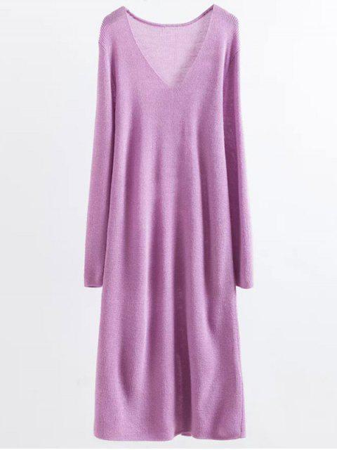 hot Long Sleeve Knitting Midi Dress - PURPLE ONE SIZE Mobile