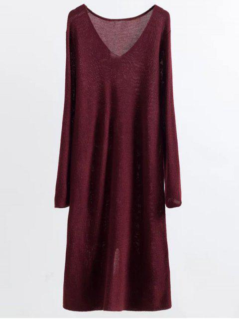 outfit Long Sleeve Knitting Midi Dress - WINE RED ONE SIZE Mobile