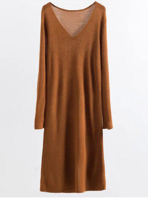 outfits Long Sleeve Knitting Midi Dress - GINGER ONE SIZE Mobile