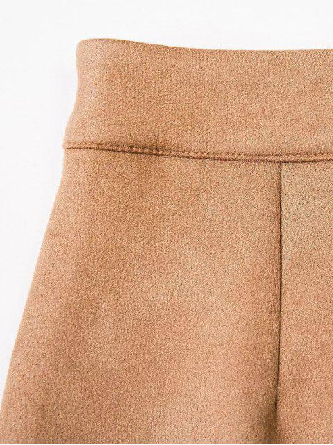 outfit Fake Suede Mini Skirt - KHAKI L Mobile