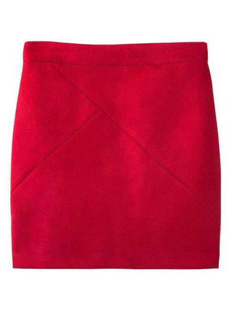 shops Fake Suede Mini Skirt - RED L Mobile